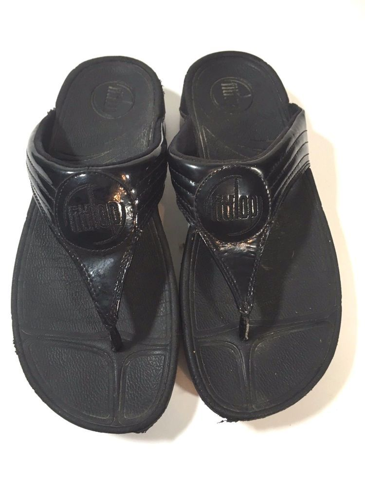 154ba21315448a FITFLOP Walkstar Thong Flip Flop Sandals Shoes Patent Leather Black Size 7   FitFlop  FlipFlops  Casual