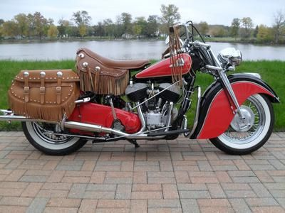 Beautifully Restored Red 1946 Indian Chief Motorcycle I Ve Decided To Offer My 1946 Indian Chief Motor Vintage Indian Motorcycles Indian Motorcycle Motorcycle