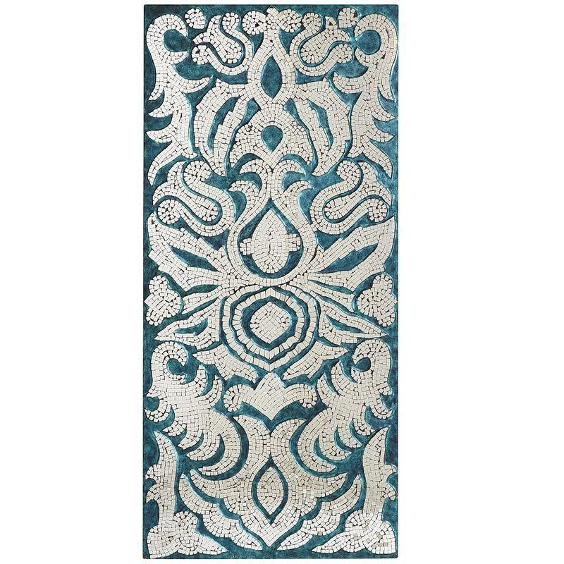 Mirror Mosaic Wall Art teal mirrored mosaic damask panel | pier 1 imports | mosaic