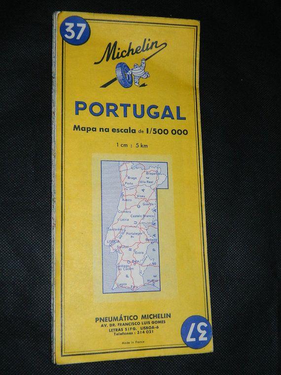 Former Michelin Road Map Portugal Vintage Michelin Map Mapa