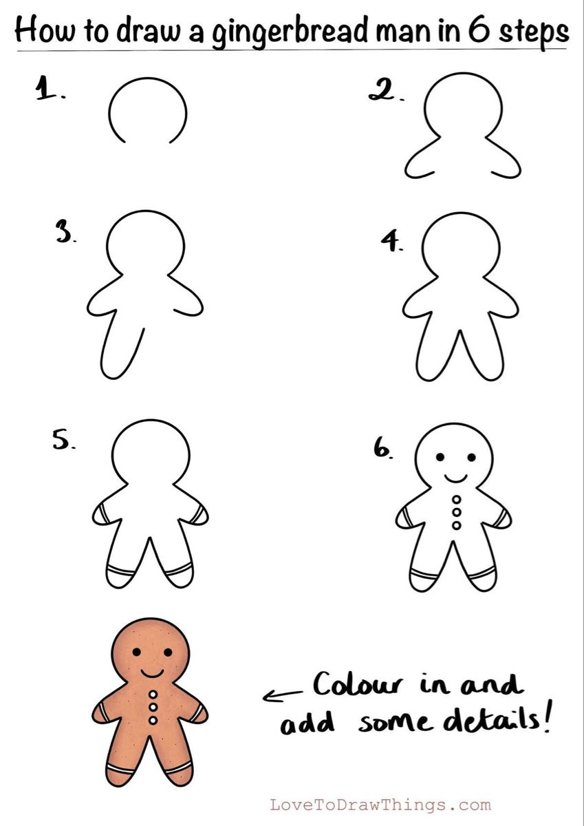How to draw a gingerbread man in 6 steps