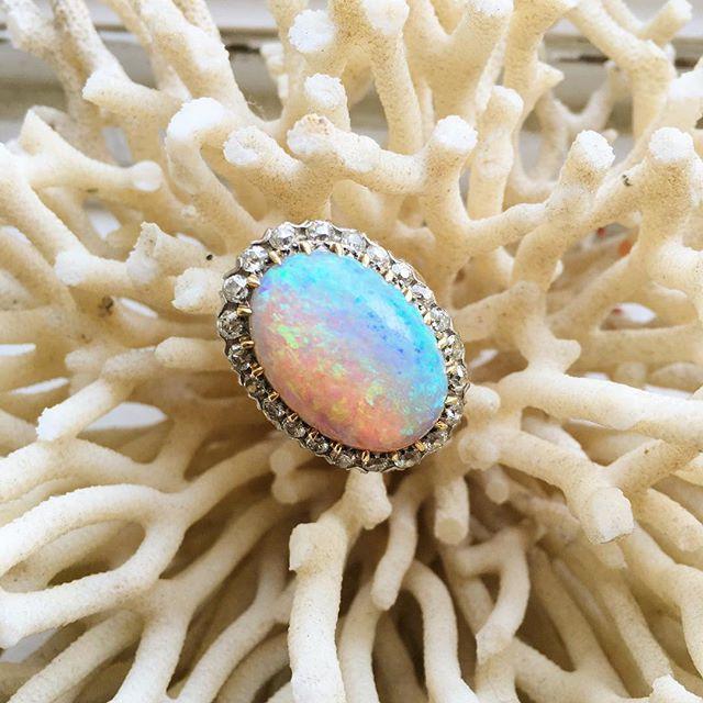 Opal lovers rejoice, we have the perfect ring for you! This beautiful Victorian ring holds a 20ct opal (yes you read that right) that has a magnificent flash and a halo made up of 1.50 ctw of Old Mine Cut diamonds. It's a fantastic statement piece for all occasions! abrandtandson.com