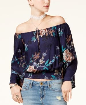 2a9534ce8b16ca American Rag Juniors' Printed Off-The-Shoulder Crop Top, Only at Macy's -  Blue XXL