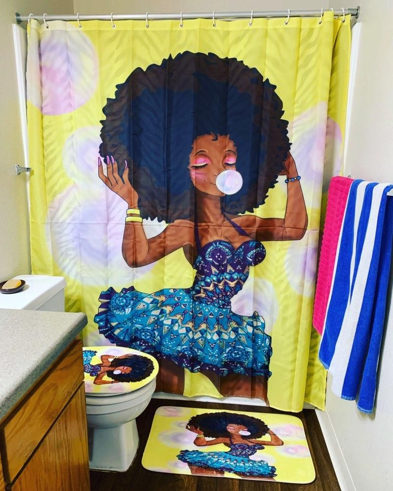 African American Black Woman Bathroom Shower Curtains Set In 2020