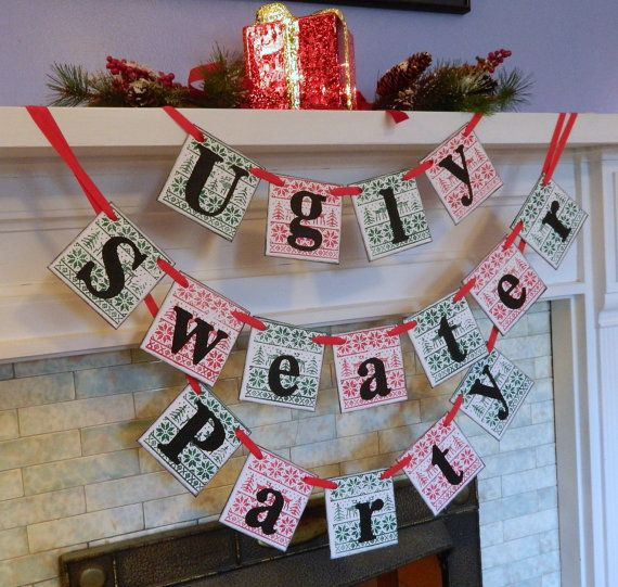 ugly sweater party banner christmas party decorations ugly sweater party photo prop sweater party decorations - How To Decorate A Ugly Christmas Sweater