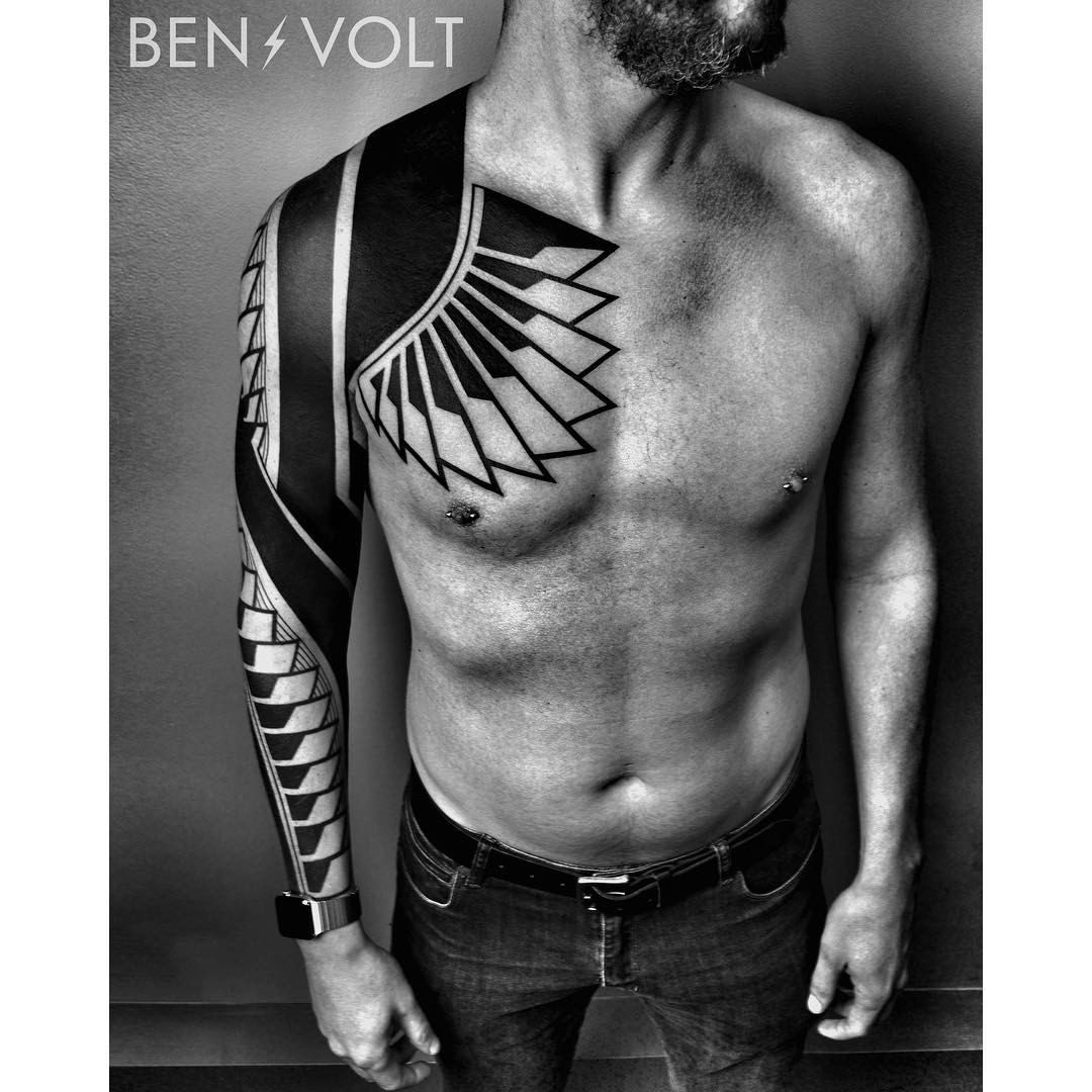 "1,747 Likes, 19 Comments - Ben Volt (@benvolt) on Instagram: ""More progress on this large scale freehand torso piece. A fusion of linear op art and dynamic…"""