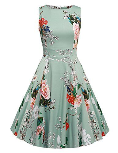 0c5702fddee ACEVOG Women Rockabilly Evening Cocktail Party Floral Print Dress Light  Gray XXL