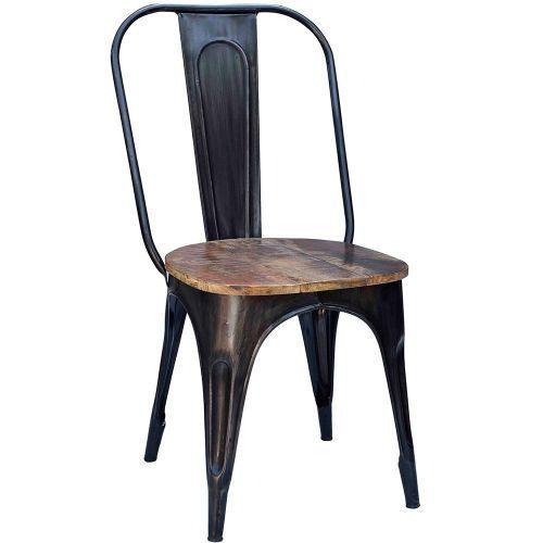 Chaise Industrielle Metal Et Bois Iron Noir Use Chaise Metal Industriel Chaise Metal Mobilier De Salon