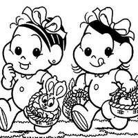 Desenho De Monica E Magali Baby Caminhando Para Colorir