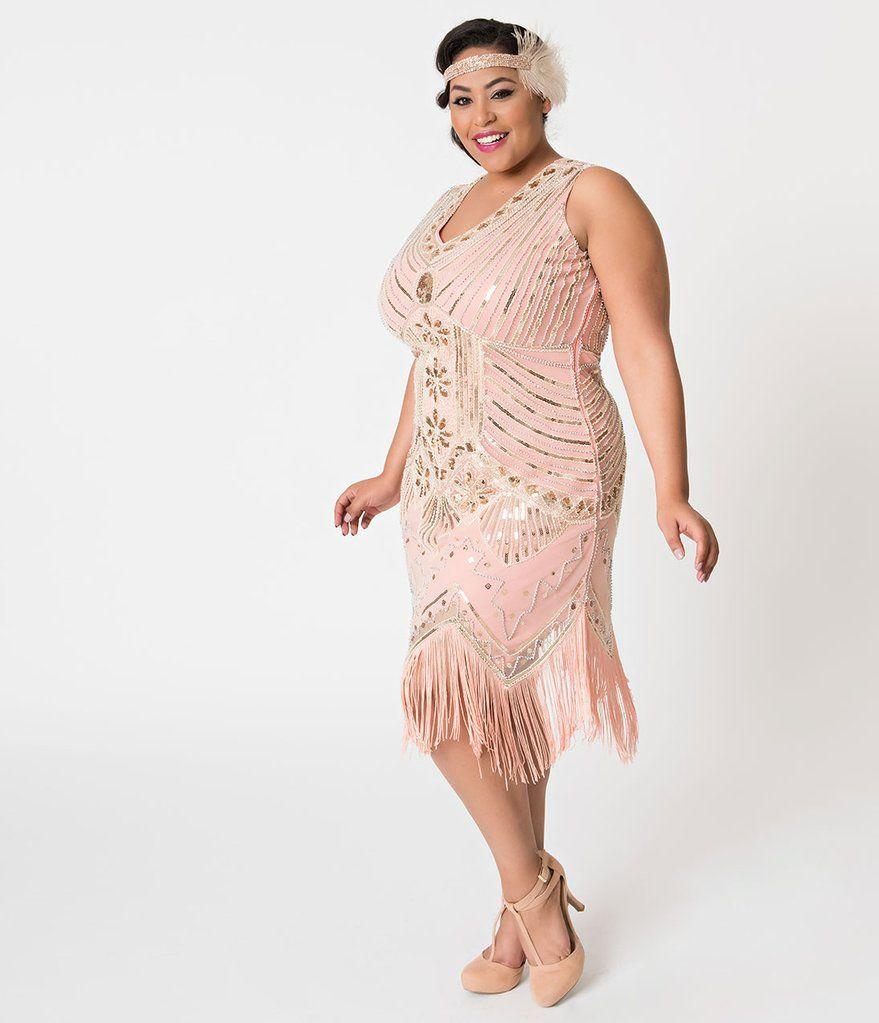6f447cc53bef Unique Vintage Plus Size 1920s Deco Peach & Gold Veronique Fringe Flapper  Dress
