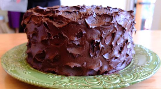Devil's Food Cake with Pinot Noir Chocolate Frosting.