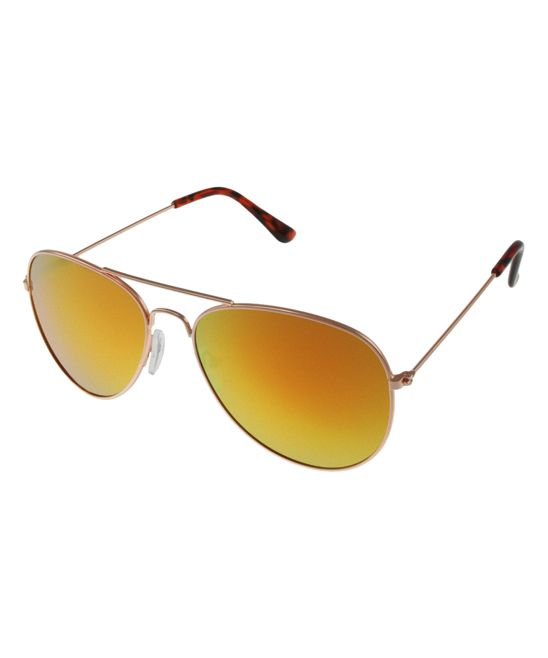 Orange & Gold Aviator Sunglasses