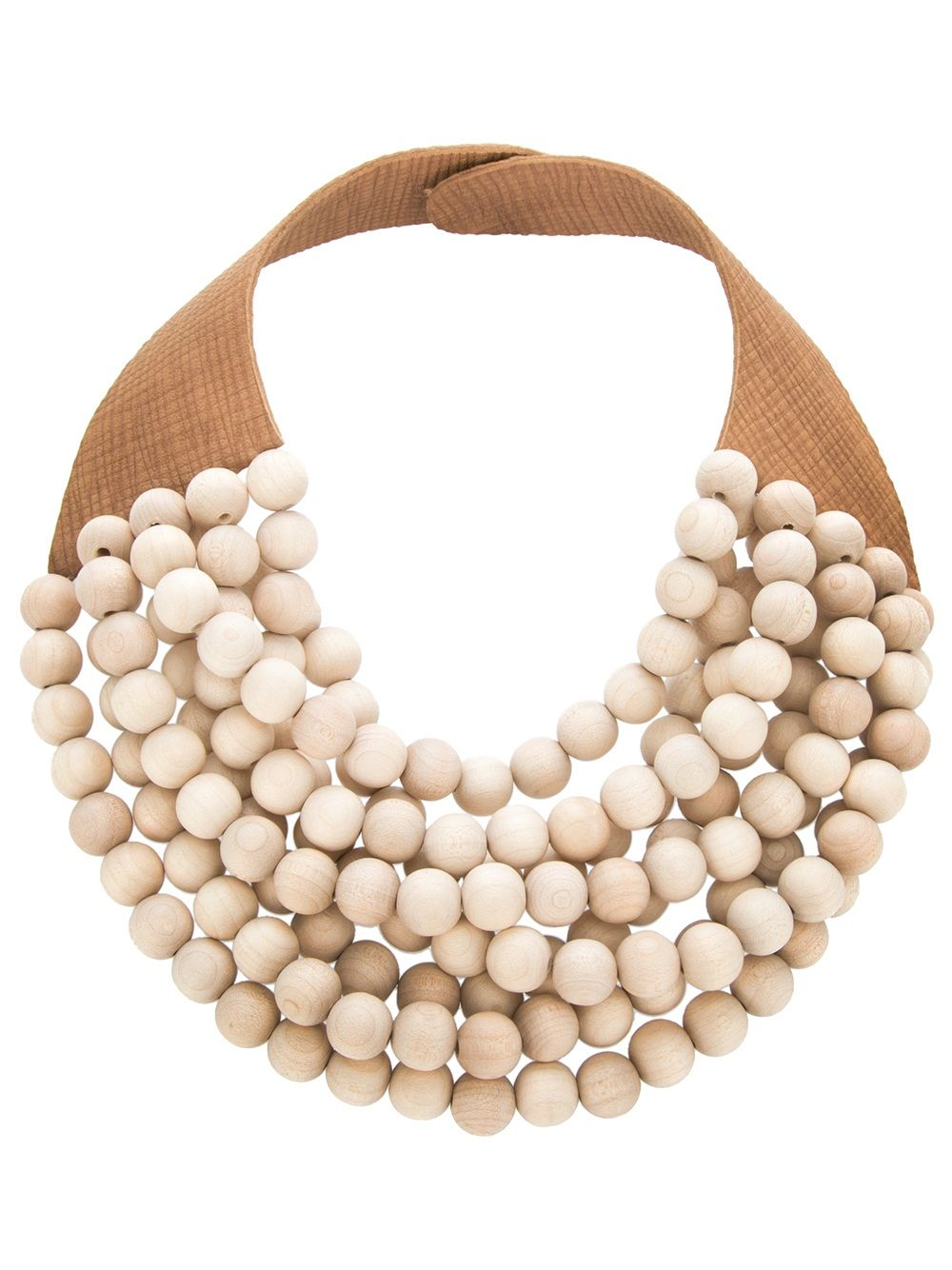 Brown calf leather necklace from Rosanna Fani , featuring a multi-strap wood effect beads    Collar de piel de becerro marrón de Rosanna Fani, que ofrece un multi-correa de imitación a madera perlas