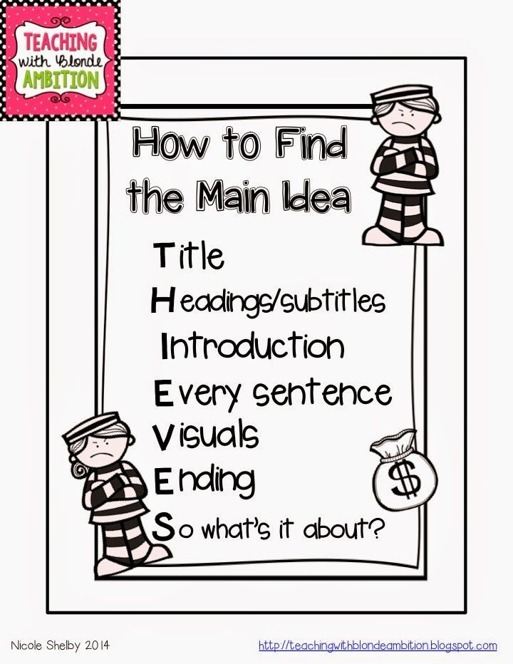 2nd Grade main idea and details worksheets 2nd grade : FREEBIE poster using the THIEVES acronym for finding Main Idea ...