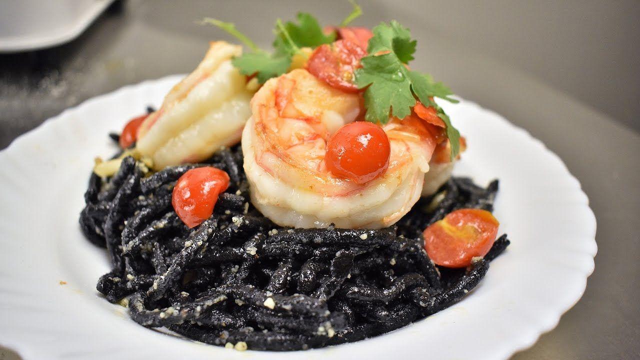 Truffled Squid Ink Pasta with Shrimp Recipe   #RAPSA!