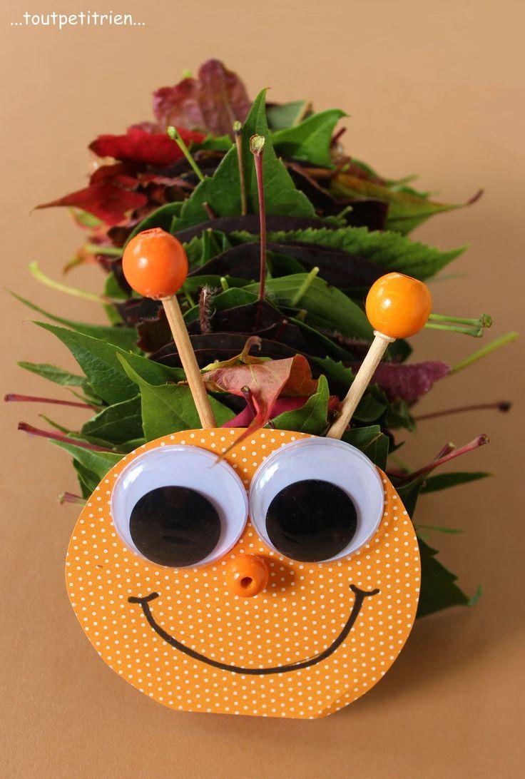chenille avec des feuilles d 39 automne piqu es sur une baguette de bois bricolage enfant www. Black Bedroom Furniture Sets. Home Design Ideas