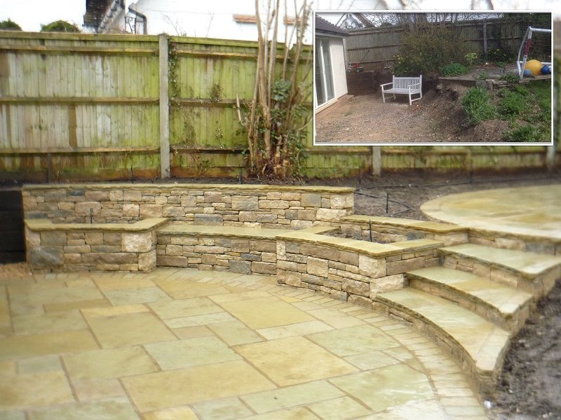 Beau Before And After Pictures Of The Split Level Patio And Retaining Feature