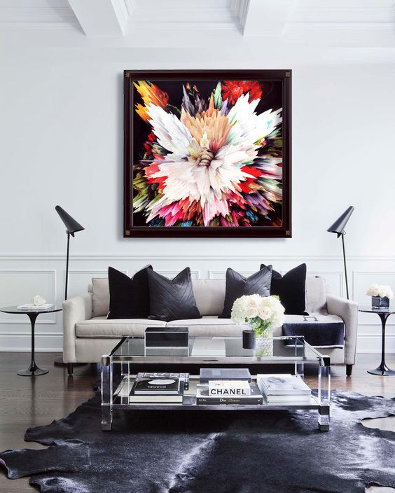 Glitch abstract CANVAS PRINT of Bouquet of Flowers, contemporary modern art painting Christmas Gift, Wall art, living room bedroom design is part of Large Living Room Black - 4 inch thick (depth) stretcher bars) Stretched & Mounted Canvas is ready to be hung on the wall ✿ Available in 6 sizes 8x8, 12x12, 16x16, 20x20, 30x30, 40x40 inches  ✿ Professionally Packaged  Note that the print is not framed  Feel free to ask me for advice if you are struggling with choosing a frame! ❀ Custom sizes can be made on request ❀ ❤ This print would look great in any interior and especially in modern interior  An artwork from this collection would look great in the kitchen, in the living room, dining room and in the bedroom  I would also recommend this print as a wedding, birthday or Christmas present!
