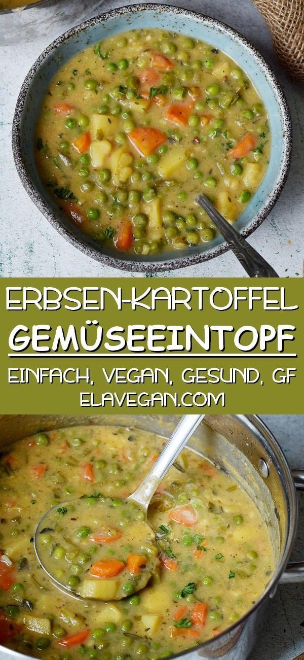 Vegane Gemüsesuppe | Kartoffel-Erbsen-Eintopf - Elavegan