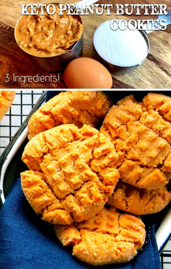 Easy Low Carb Dessert Recipe: 3 Ingredient Keto Peanut Butter Cookies -- quick and easy to make! This recipe is so simple you probably already have the ingredients on hand. This fast recipe is a savior when following a ketogenic diet. #keto #lowcarb #peanutbutter #instrupix