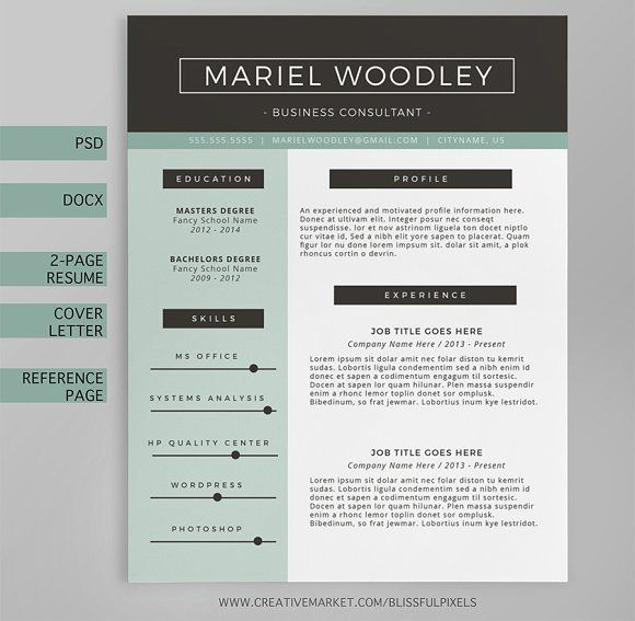 Beautiful Resume Templates Resume Template 4Page  Cv Templateblissful Pixels On