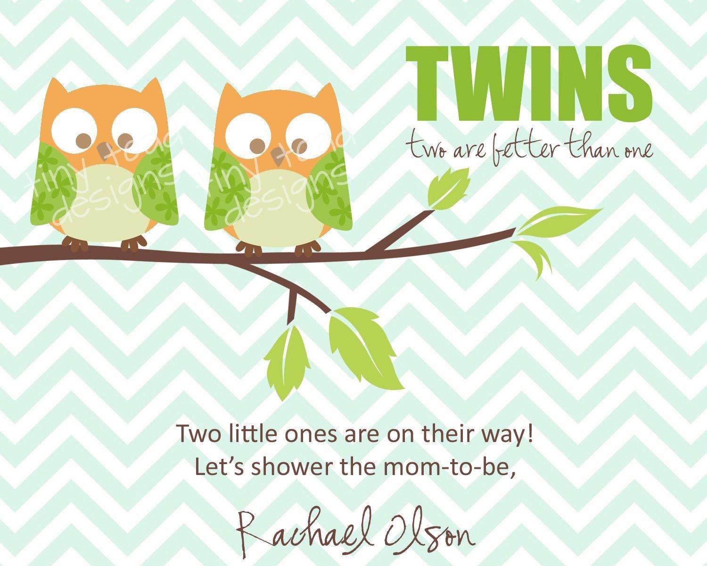 Twins Baby Shower Invitations (Boys) Owls, DIY Printable, digital ...