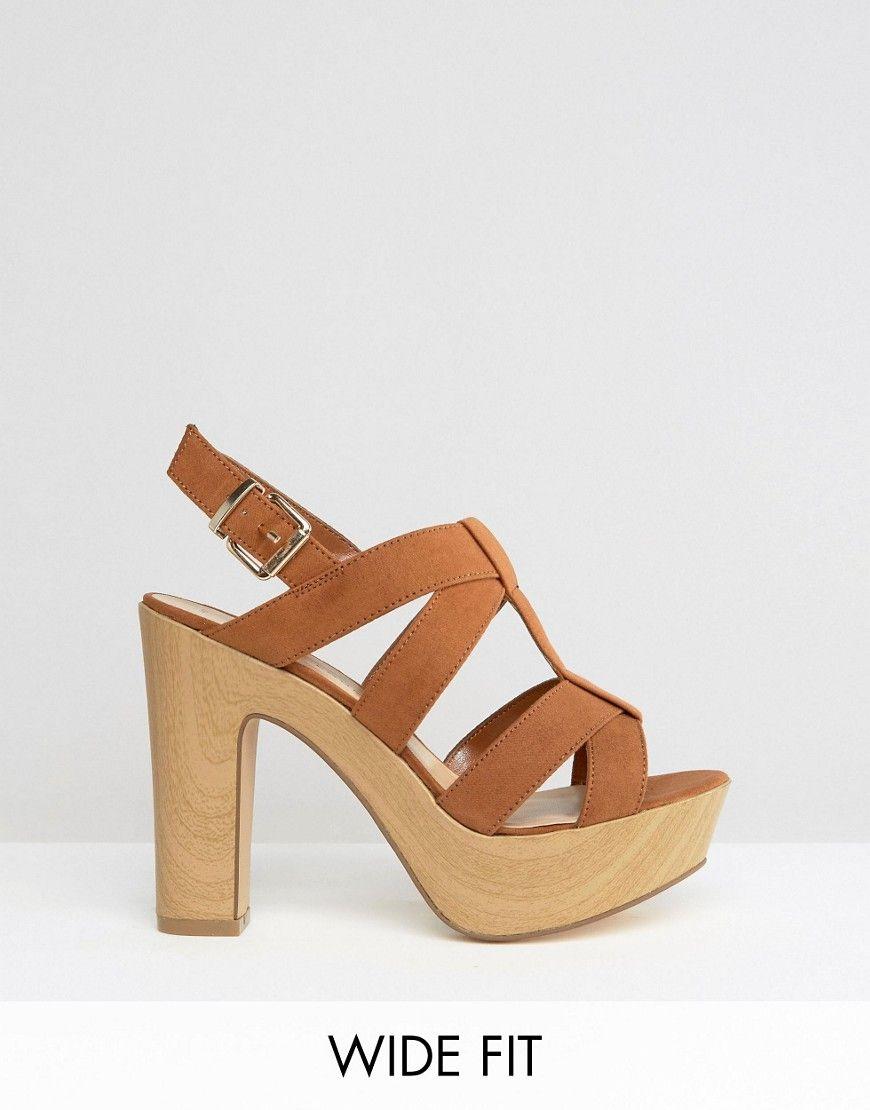 fbaf62945823 New Look Wide Fit Wooden Block Heeled Sandal