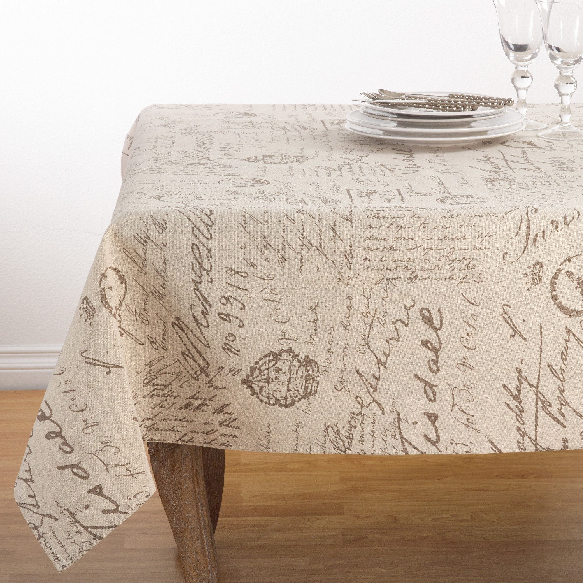 Beige Letters Tablecloth Saro Lifestyle Table Linens Vinyl