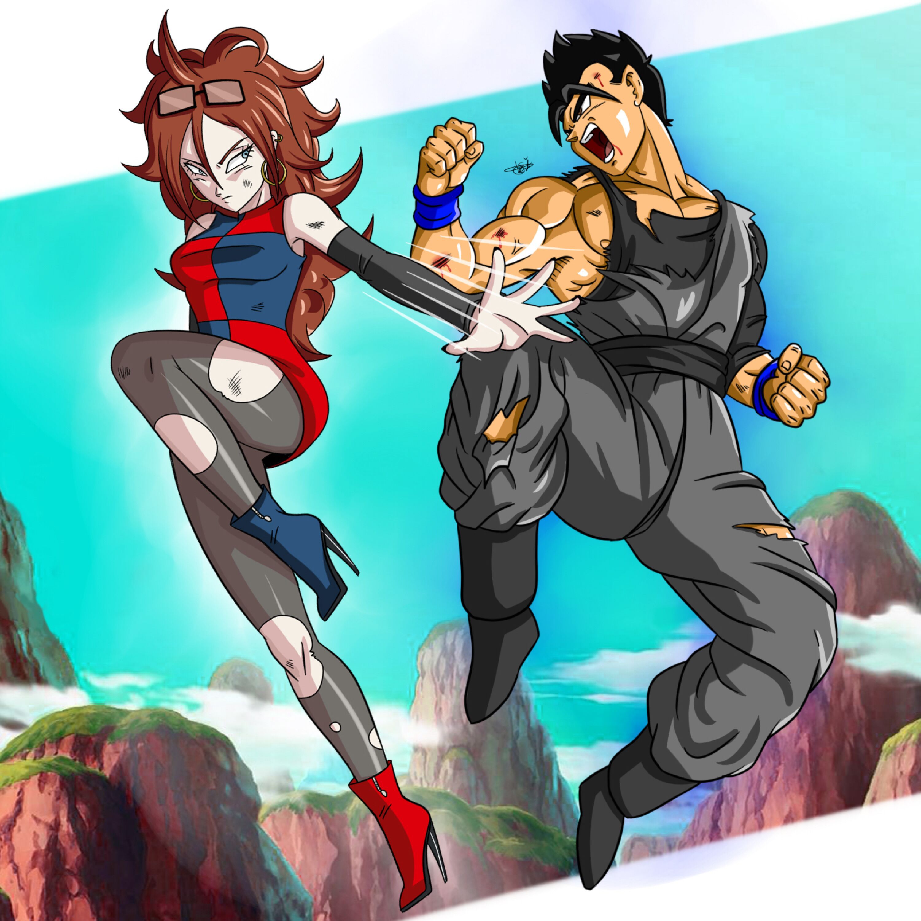 Android 18 And Tail Deviantart: Commission: OC Jerri VS Android 21 By ChigoSenpai On