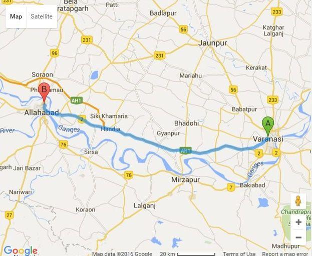 Get Varanasi And Prayag Allahabad Distance By Road Distance From - Allahabad map