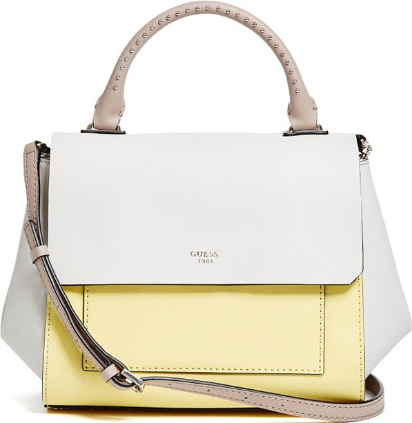 d9489b402cabb Guess Citron Yellow Evette Color-Blocked Satchel in 2019