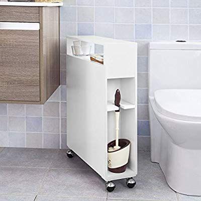 Sobuy Frg51 W Meuble De Rangement A Roulettes Wc Porte Papier Toilettes Porte Brosse Wc Armoire Roulante Ave Meuble Rangement Meuble Rangement Wc Rangement