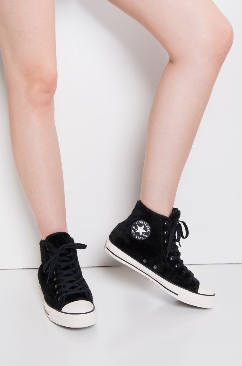 0470139b893 Converse All Star Chuck Taylor Faux Fur Textile Lined Lace Up High Top  Fuzzy Sneakers in Black Black White