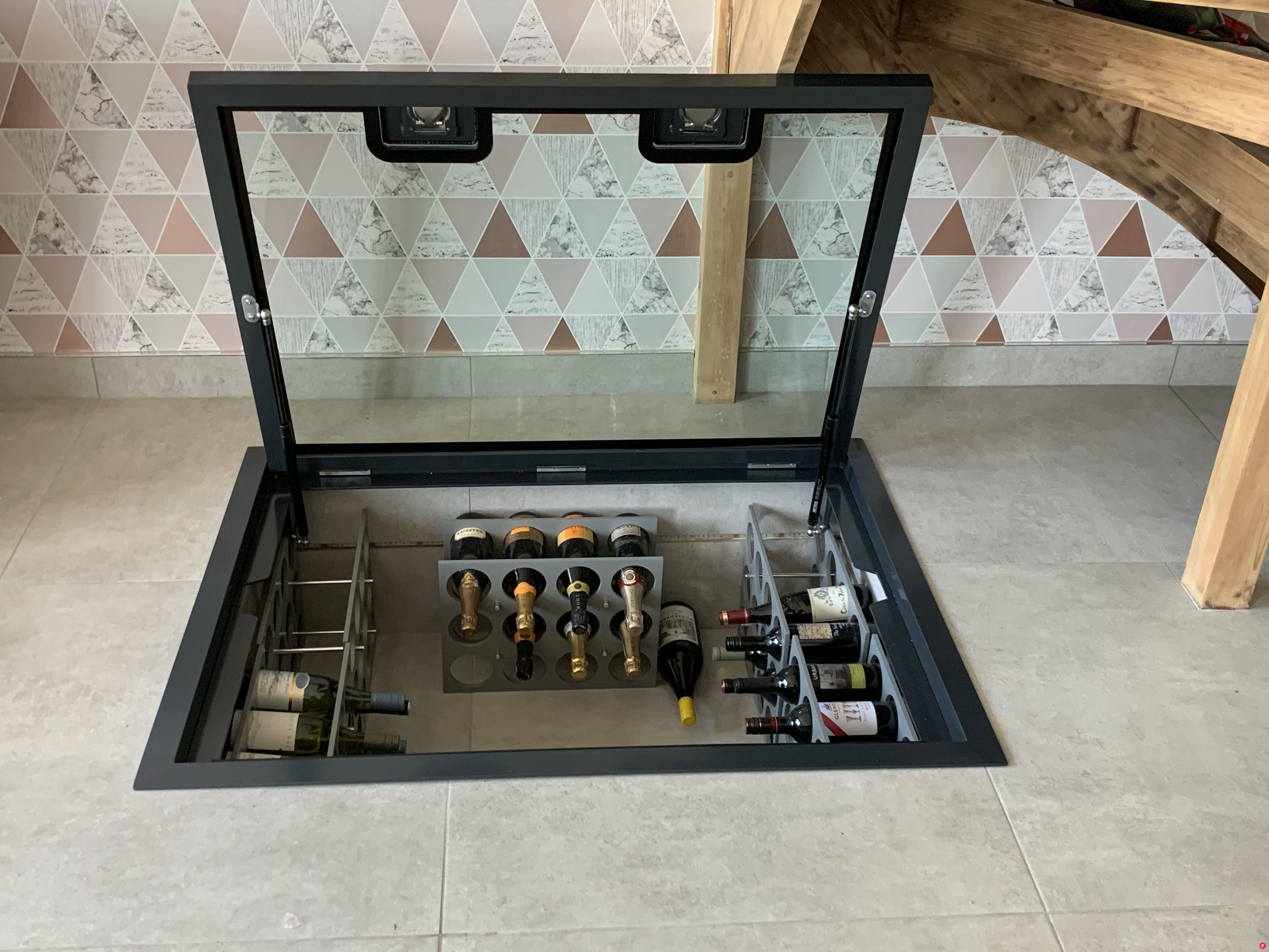 Omg Our Favorite New Design Glass Wine Cellar With Walk On Glass Flooring And Gas Strut Opening Hinged System Glass Floor Home Wine Cellars Glass Wine Cellar
