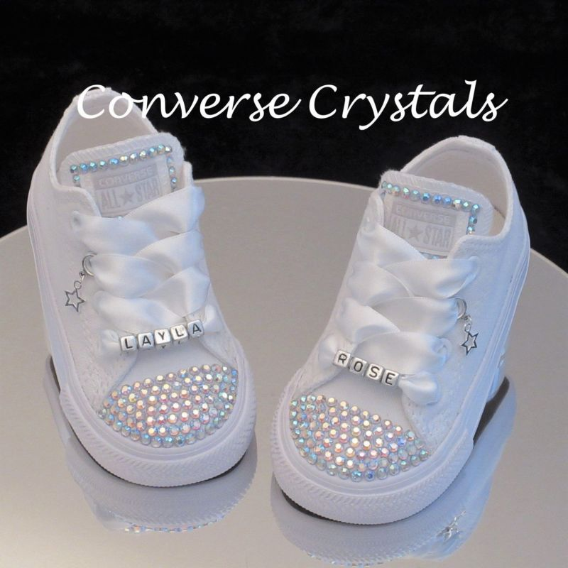 7a79331e5a91 Junior Personalised Mono White Custom Crystal  Bling  Converse Sizes 11-2