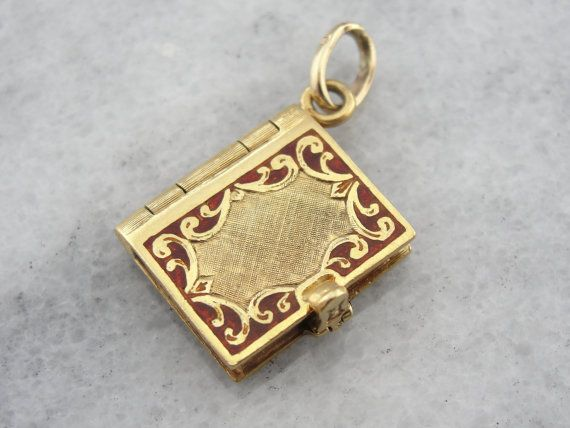 Vintage Book Locket 18K Gold and Fine Red Enamel by MSJewelers, $1515.00