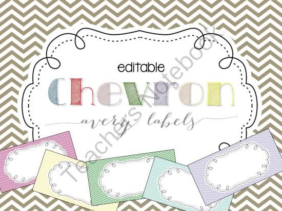 Chevron Editable Classroom Labels 2x4 Avery Label 8163 From Mrs Ds
