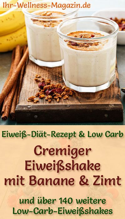 Eiweißshake mit Banane und Zimt - Low-Carb-Eiweiß-Diät-Rezept #proteinshakes