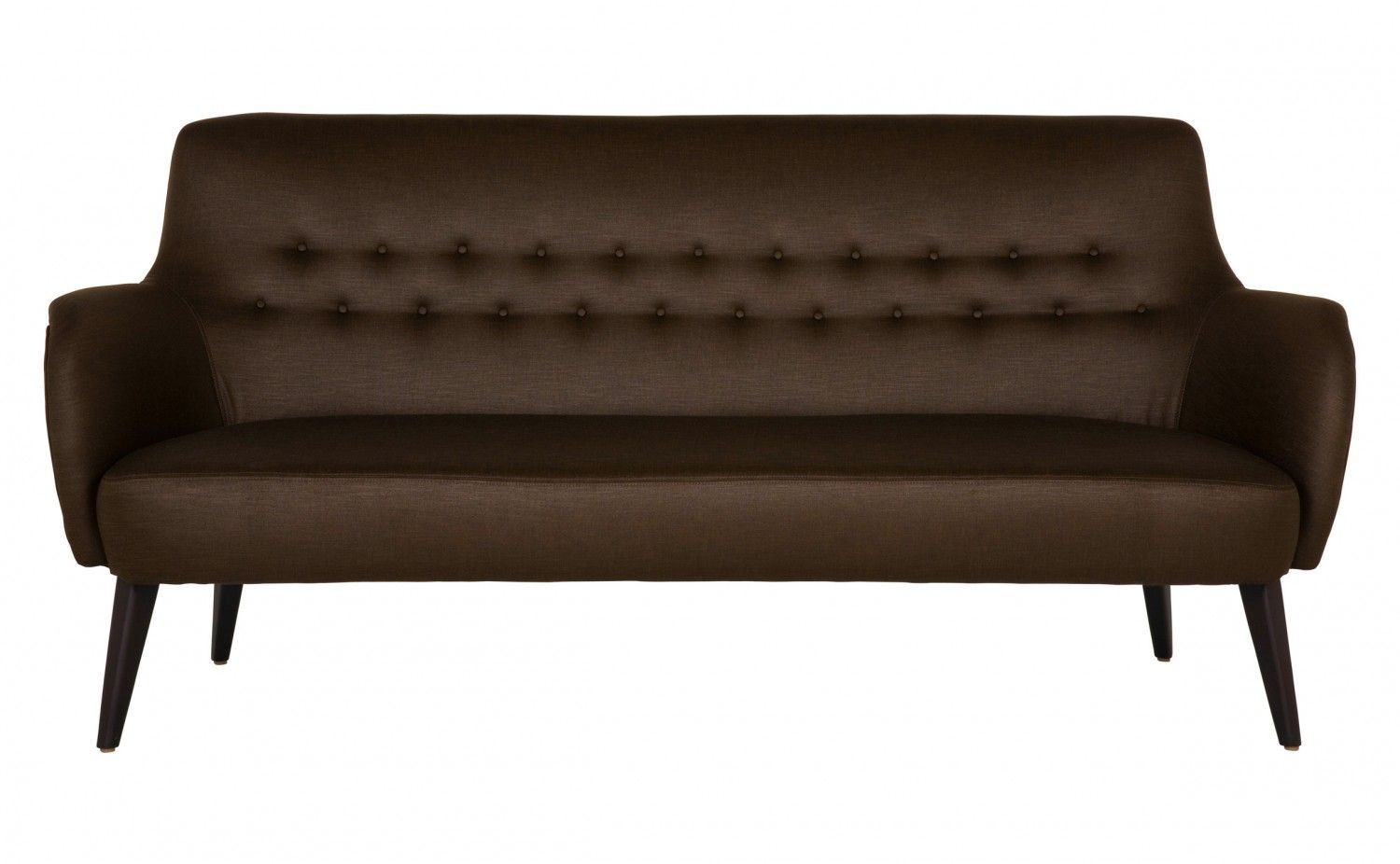 """•76""""W x 33""""D x 35""""H  •upholstered in salvador-chocolate woven  •black walnut wood finish  •sustainable construction"""