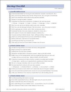 Printable Moving Checklist Click On The Name And Pdf Download