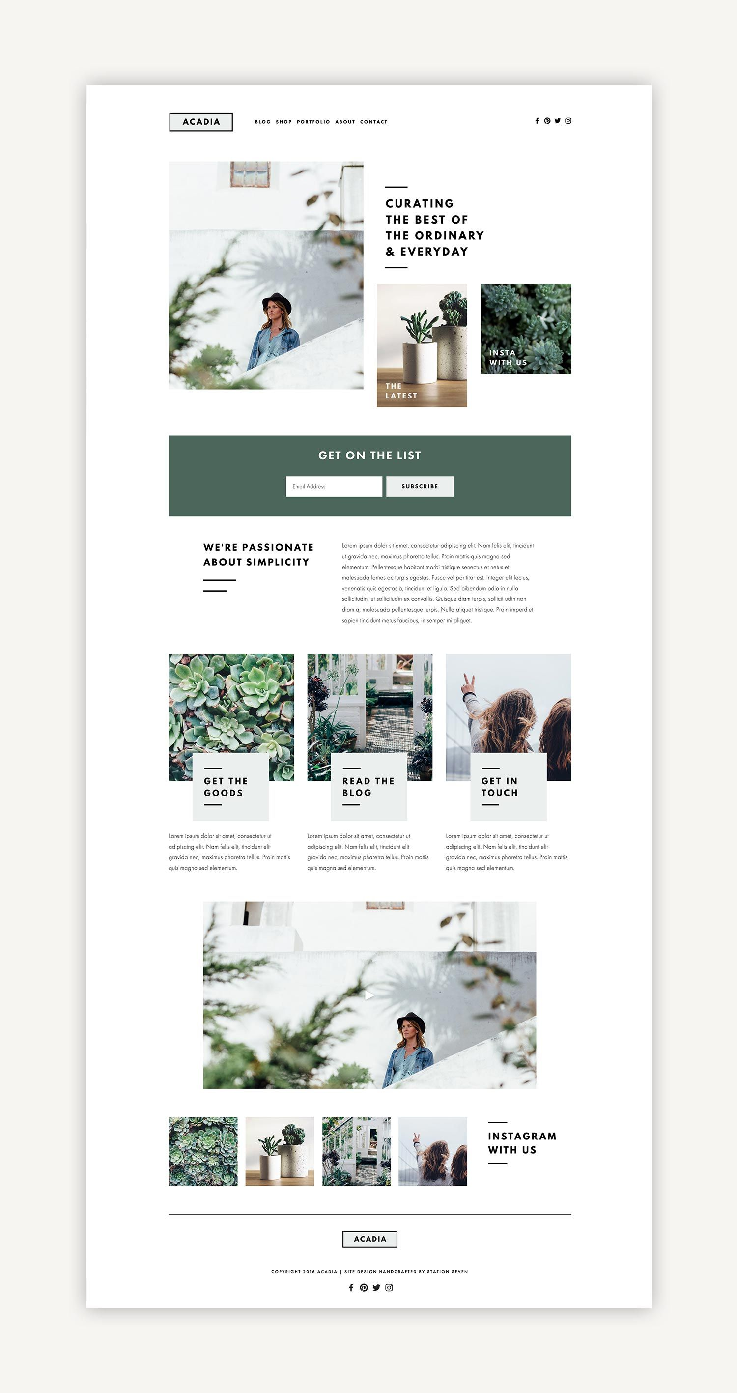 Acadia Squarespace Kit — Station Seven: Squarespace Templates, WordPress Themes, and Free Resources for Creative Entrepreneurs
