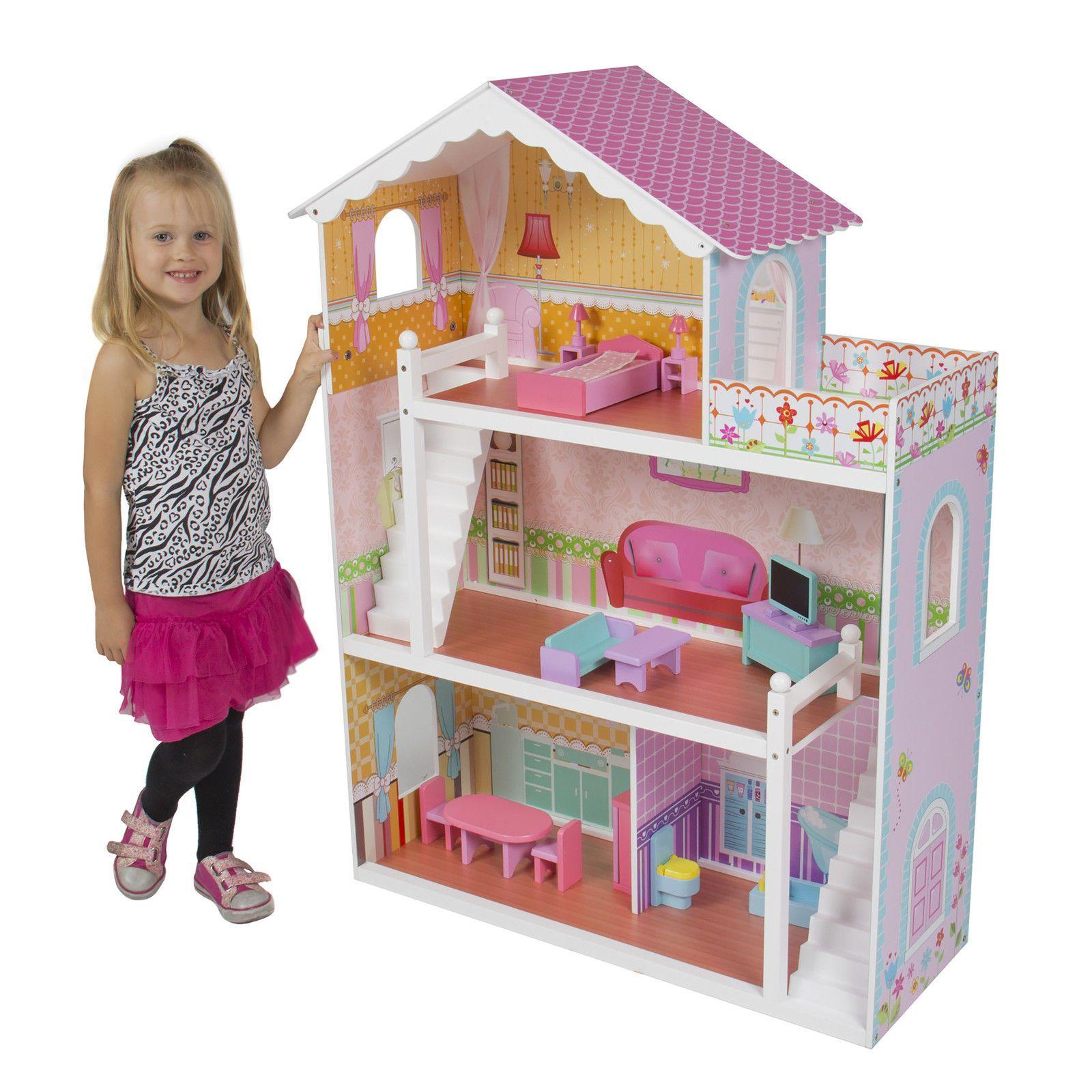 barbie dollhouse furniture cheap. large children\u0027s wooden dollhouse w/ furniture for $80 http://sylsdeals.com barbie cheap s