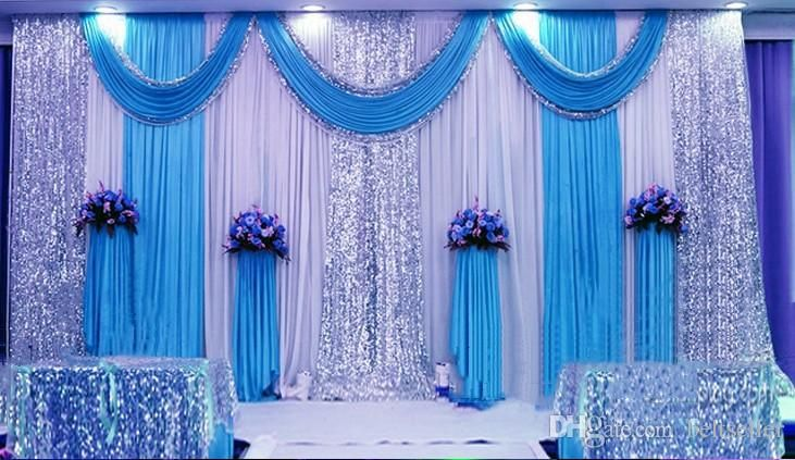 3m 6m milk white wedding backdrop curtains lake blue swag for Background curtain decoration