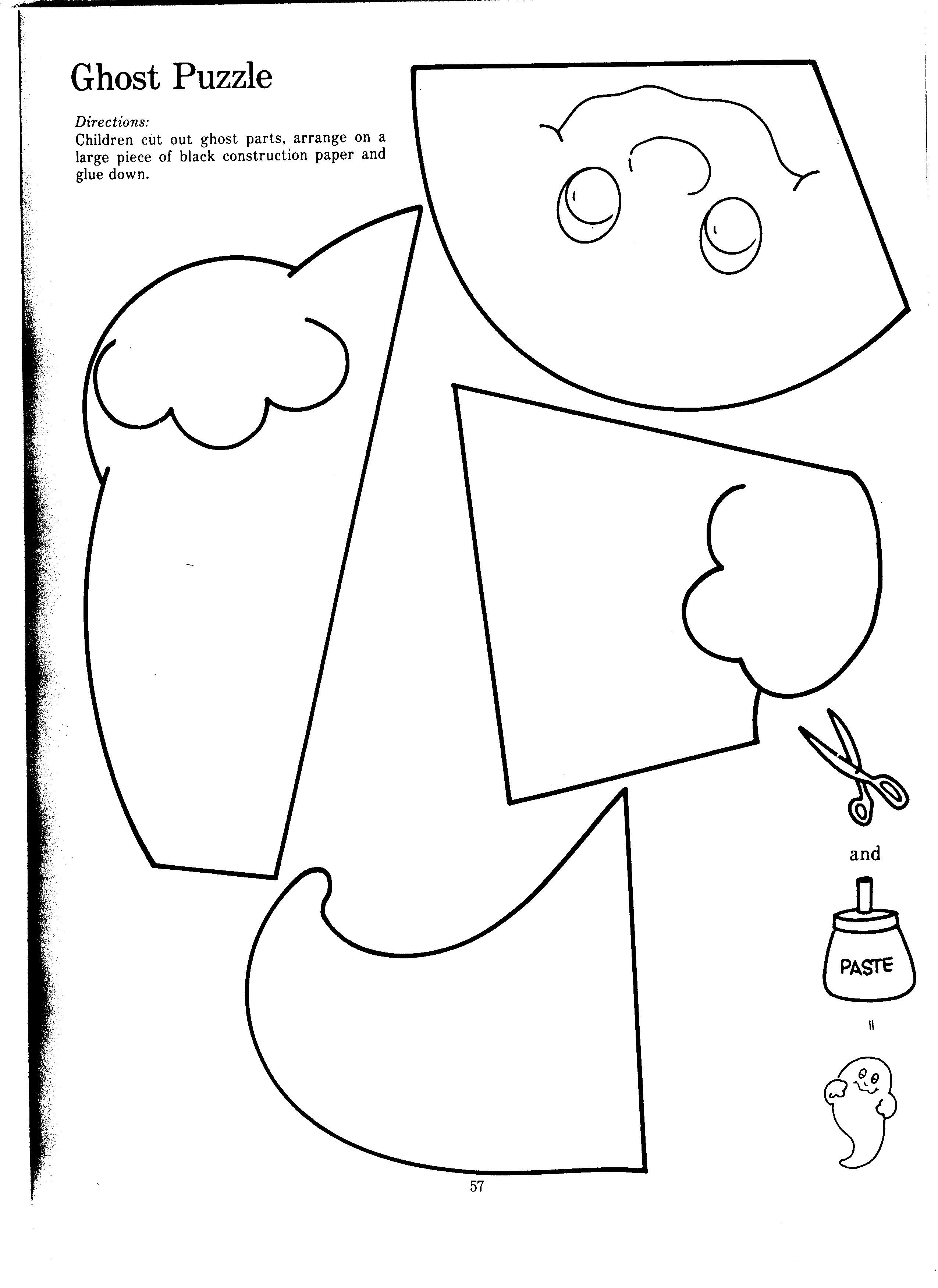 Ghost puzzle Halloween Early childhood curriculums