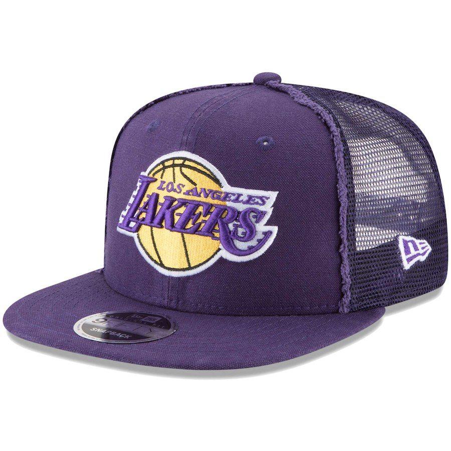 00b773c18a5 Men s Los Angeles Lakers New Era Purple Trucker Worn 9FIFTY Adjustable Snapback  Hat