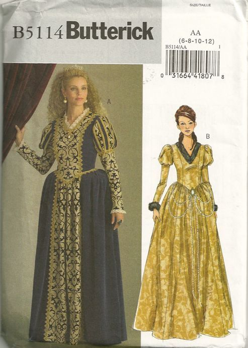 32a07a04548 Butterick 5114 Misses Renaissance Princess Costume Pattern Womens Sewing  Pattern by patterngate.com