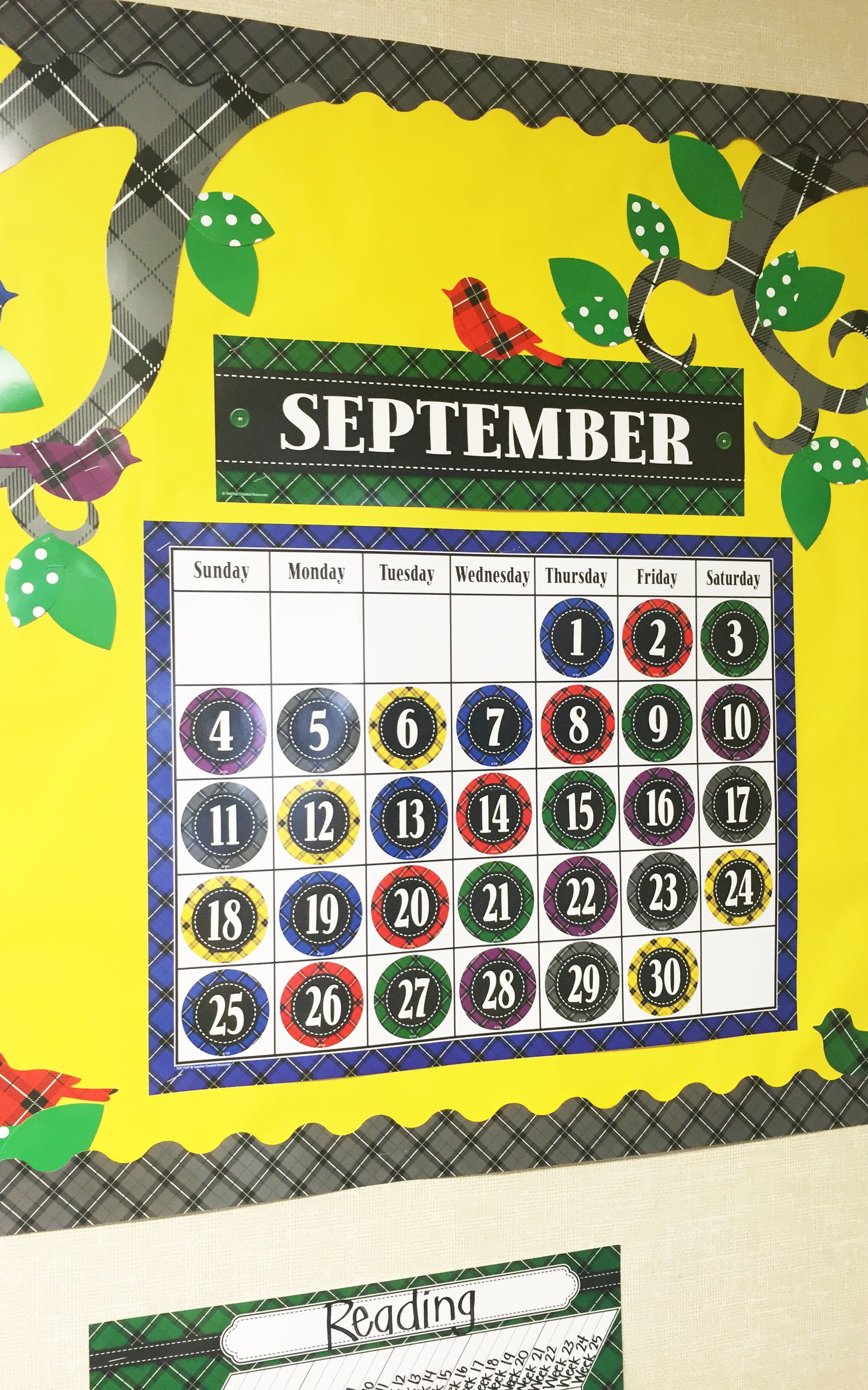 The Plaid Calendar Chart And Calendar Days Are Classic And Vibrant