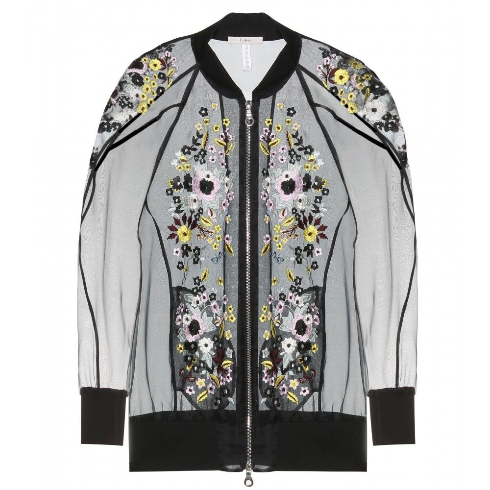mytheresa.com - Dani embroidered silk-blend organza bomber jacket - casual  - jackets