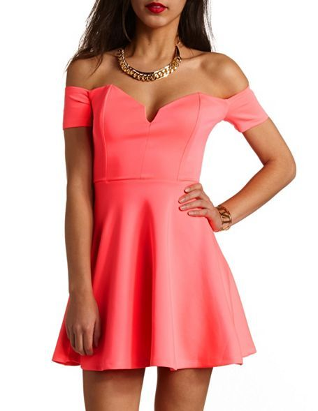 b9fed0c0d46c Off-the-Shoulder V-Cut Skater Dress  Charlotte Russe