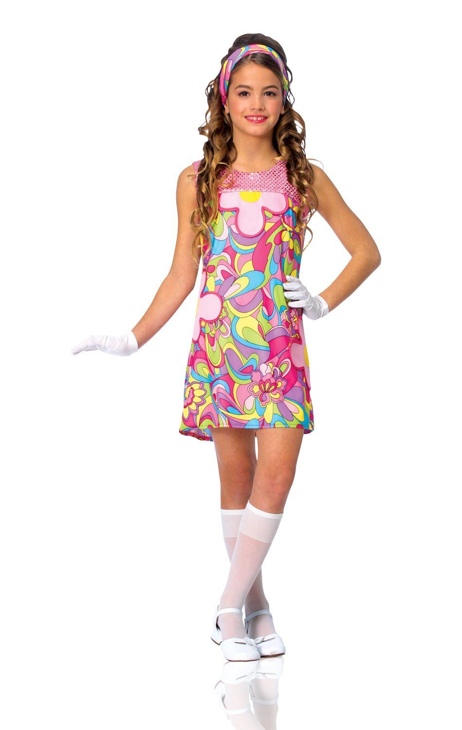 f590ec5ae8 Kids Girls Costume 60s 70s Groovy Girl Dress Outfit M Girls Medium US size  810 -- Details can be discovered by clicking the picture.